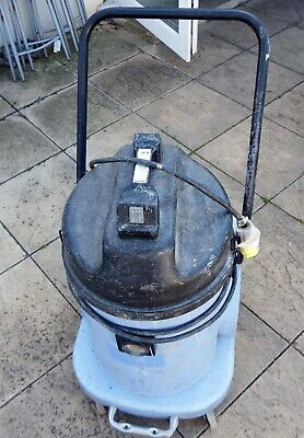 Numatic WVD-900 wet/dry twin motors vacuum cleaner and drum on wheels 110V