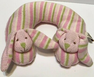Maison Chic Pink Bunnies Travel Neck Pillow for Infant Baby Head Support