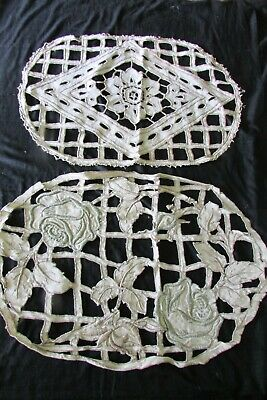 Pretty Pair Antique French Hand Embroidered Cutwork Linen Cushion Covers c1920