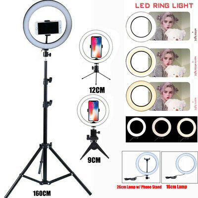 26cm Dimmable LED Ring Light Lamp Phone Selfie Camera Studio Video Tripod Stand
