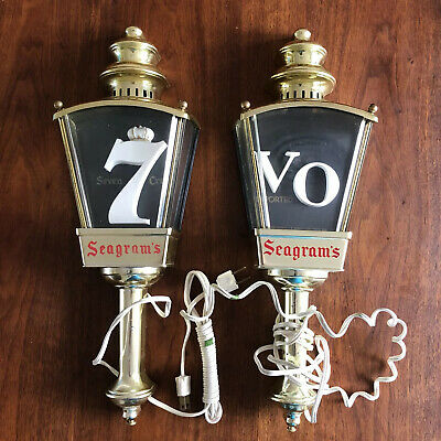 Vintage Pair of Seagram's VO &7 Whiskey Lighted Bar Light Lamp Sconces Man Cave