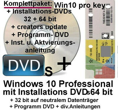 Windows 10 Pro Lizenz aufkleber + DVDs + ProgrammDVD  Komplettpaket TOP ! Kpl. !
