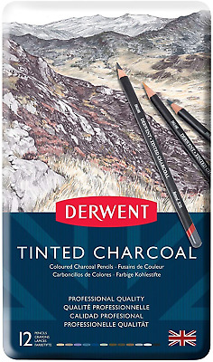 Derwent Tinted Charcoal Drawing Pencils, Set of 12, Watersoluble, Professional
