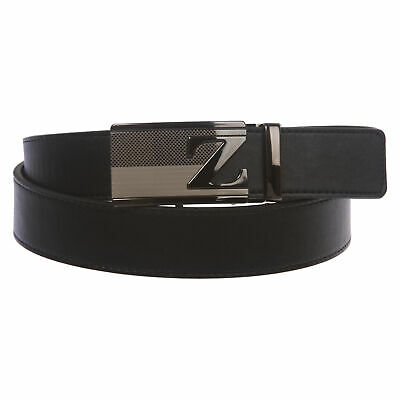 Men/'s Leather Ratchet Belt with Vertical Panes Automatic Buckle