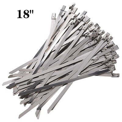 """500/1000PC Stainless Steel Metal Cable Wire Zip Tie Wrap Self-Locking Strap 18"""""""