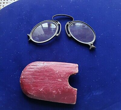 Antique Pinch Nose Folding Black Eyeglasses with Leather Eyeglass Case
