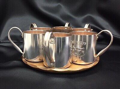 Set of 6 Copper Tone Smirnoff Mule Mugs with Serving Tray