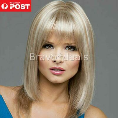 Women Short Straight Blonde Golden Brown Hair Lace Wigs Costume Cosplay Party J