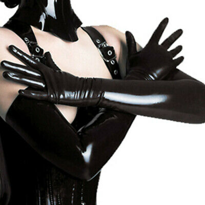 HOT Womens Sexy Long Gloves Faux Leather PU Evening Black Touchscreen Sensitive