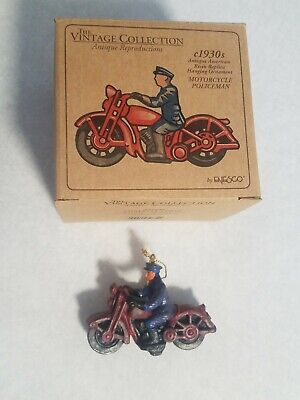 Cast Iron Look, 1930's Style Police Motorcycle Christmas Tree Ornament