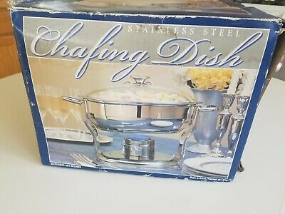 N0S Culinary Essentials 4 Quart 3.7 LITERS  Round Stainless Steel Chafing Dish