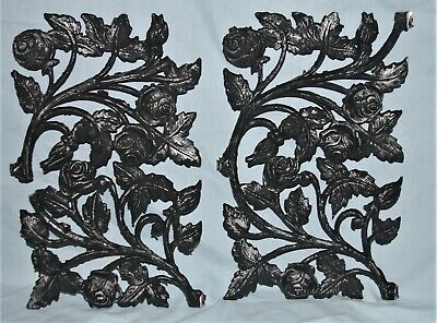 Pair Architectural Salvage Cast Metal Garden Door Porch Roses Pediments