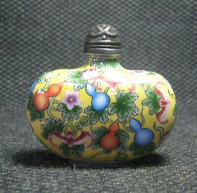 Chinese Copper Delicate Hand Painted Gourd Snuff Bottle