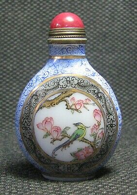 Chinese Glass Delicate Hand Painted Magnolia And Bird Snuff Bottle------