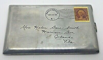 Vintage Sterling Silver Cigarette Case With Etched Stamped Envelope--Different !