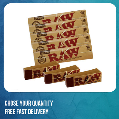 RAW CLASSIC King Size Slim Rolling Papers with Raw Roach Tips Raw with Roach