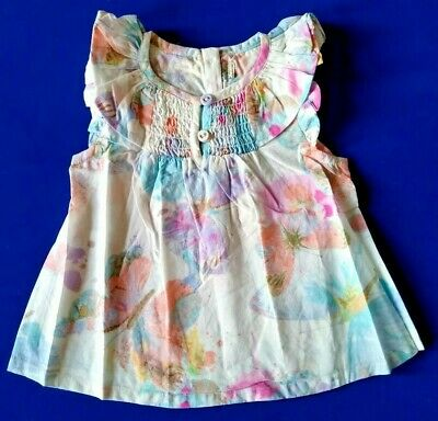NEXT Baby Girls Butterfly Tunic 3 6 Months Smocked Cotton Blouse Summer Top NEW