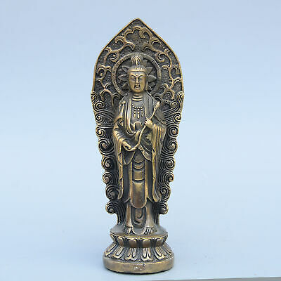 Collectable Old Bronze Hand-Carve Buddhism Kwan-Yin Auspicious Exorcism Statue