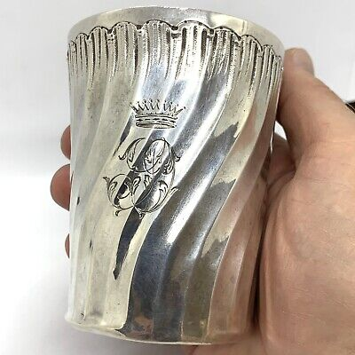 """Antique French Sterling Silver Julep Tumbler Cup. 3.3/4"""". 130gm."""