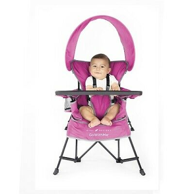 Portable Baby Feeding High Chair Convertible Toddler Booster Folding Pink Seat