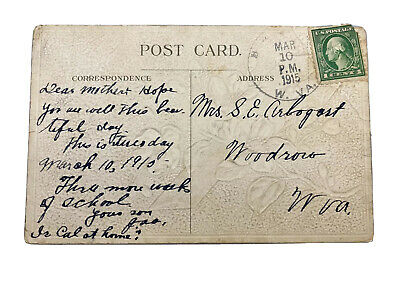 Antique WWI Era 1915 Postcard w/ Rare 1 cent George Washington Green Stamp