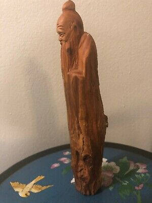Vintage/Antique Hand Carved Wood Chinese Wiseman 10.5 Inches Tall