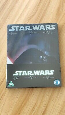 Star Wars Episode IV V VI original trilogy Blu-ray steelbook 3 discs UK (New)