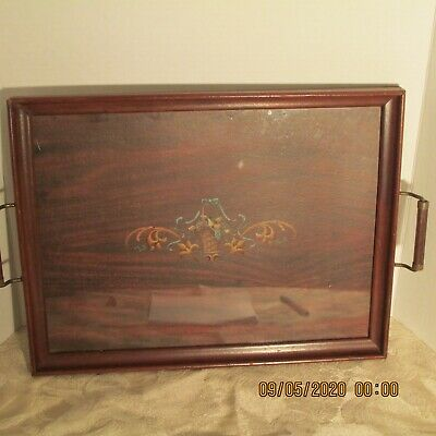 """Mahogany OVAL TRAY with INLAY WOOD/BRASS  Handles Butlers Serving  17 1/2"""""""