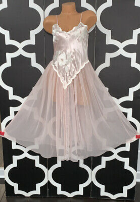 Vintage NWT Victorias Secret Gold Label Old Stock Satin Chiffon Pink Nightgown