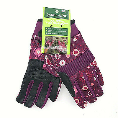 NEW Gardenline Womens Touchscreen Padded Leather Palm Gardening Gloves SIZE XL