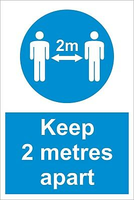 Keep 2 Metres Apart - Social Distancing  Safety Sign