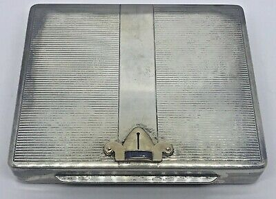 Sterling Silver Cigarette Case & Leather Outer Case~~Jeweled Adornment On Lid