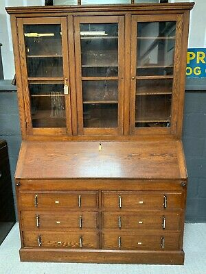 Large Antique Oak Estate Cabinet / Glazed Bookcase / Bureau / Desk was £1495