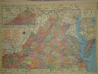 Vintage 1957 VIRGINIA Map ~ Old Authentic Original Atlas Map 72018