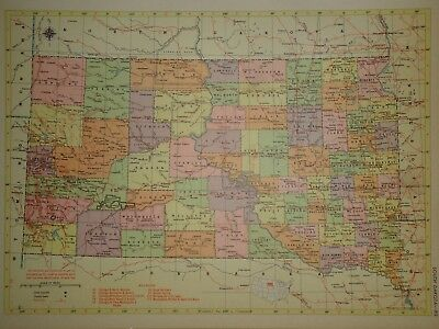 Vintage 1957 SOUTH DAKOTA Map ~ Old Authentic Original Atlas Map 72018