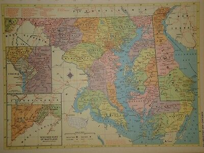 Vintage 1957 MARYLAND - DELAWARE Map ~ Old Authentic Original Atlas Map 72018