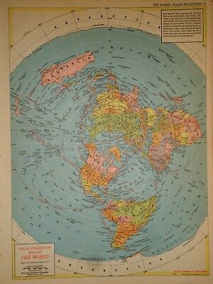 Vintage 1957 POLAR -LAND HEMISPHERE Map ~ Old Authentic Original Atlas Map 72018