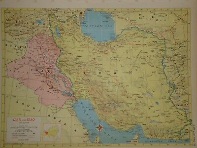 Vintage 1957 IRAQ - IRAN Map ~ Old Authentic Original Atlas Map 72018