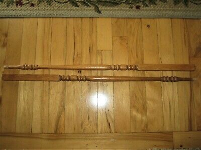 "PAIR Stair Rail 34"" 35"" inch Balusters Staircase Square Pin Top Stained Spindle"
