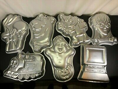 Vintage WILTON CAKE PAN (LOT of 7) 70s and Later characters birthday  SEE PICS