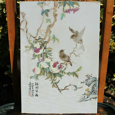 Antique Chinese Famille Rose Porcelain Plaque Birds Painting Signed Tile