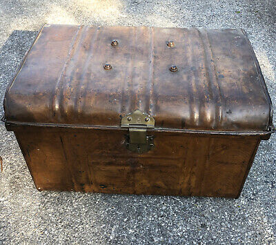 Antique t turner & co trademark brass antique hinged trunk chest box