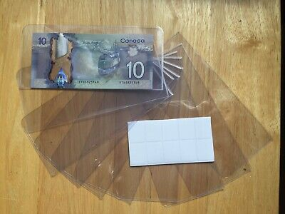 (Package Of 10 Holders)New Unitrade Acetate Currency Sleeves For Bank Notes