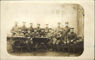 RPPC German soldiers military meeting beer bottles? WWI era Mulhausen Germany