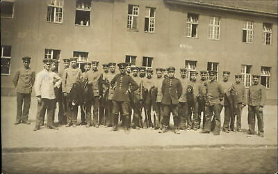 WWI ~ Juterbog Germany 1917 ~ large group of soldiers ~ RPPC real photo
