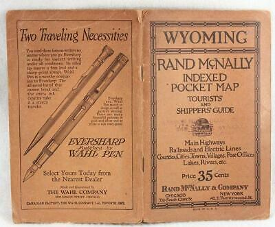 Rand McNally Indexed Pocket Map Tourist and Shipper's Guide WYOMING 1924
