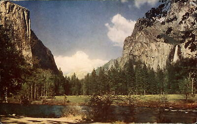Bridalveil Falls El Capitan Yosemite Valley Natl Park California ~ postcard