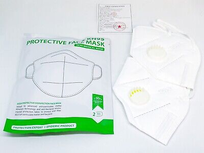 2X Face Protective Mask With Valve Pack Of 2  Total 4 Masks Usa Seller