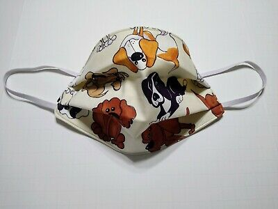 DOG PUPPY PRINT 3 Layer Cotton Fabric Adult Face Covering Mask Washable-Qty 1