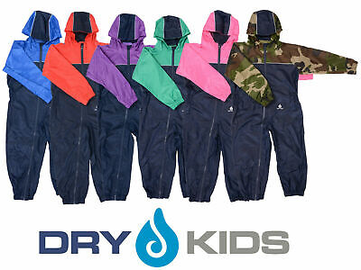 Dry Kids 2 Colour Waterproof Rainsuit, Childrens All in One Fun Dry Suit